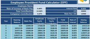epf calculator excel free download